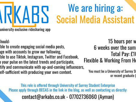 We are hiring: Social Media Assistant