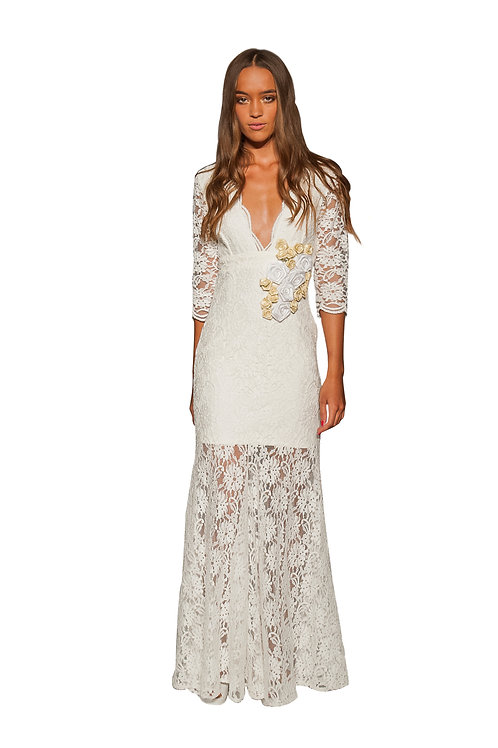 Ivory Lace Dress with Knee Length Lining