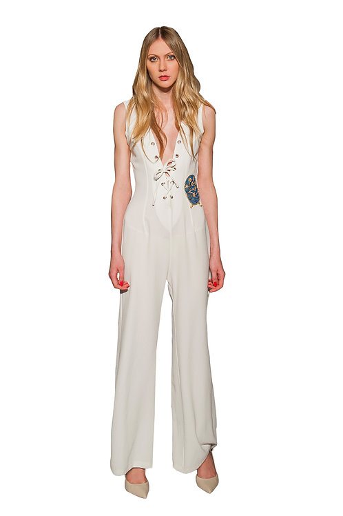 White Jumpsuit with Deep V