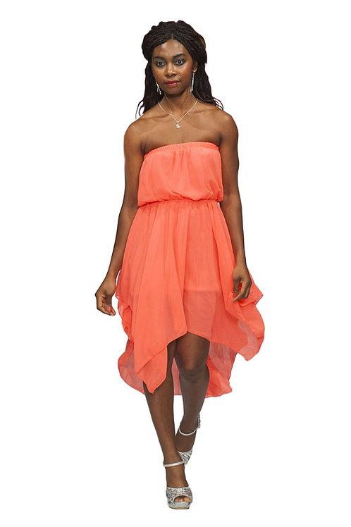 Asymmetric Hem Bandeau Dress