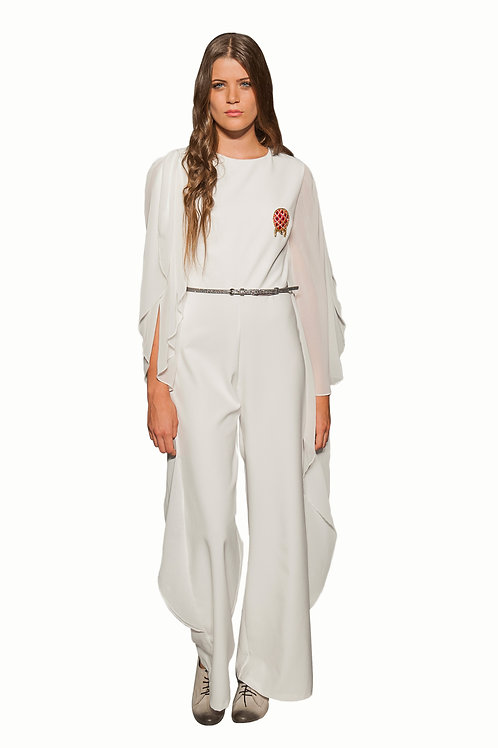 Ivory Jump Suit with Chiffon Wings