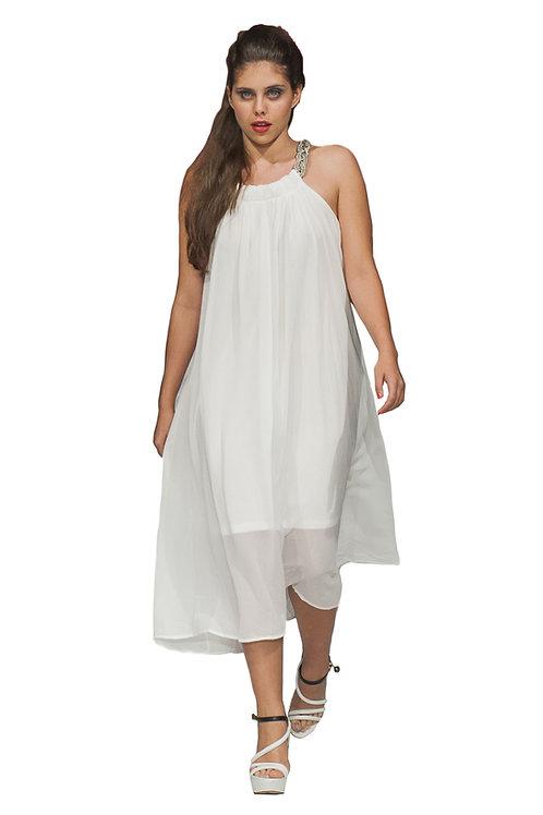 White Georgette Midi A-Line Dress