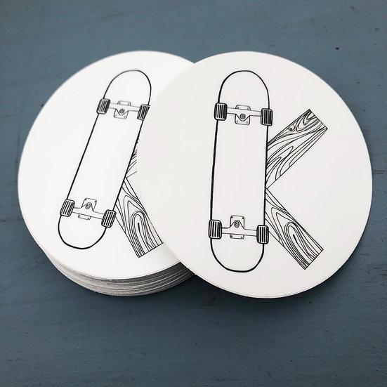 Sticker. Letter K for sKateboard.