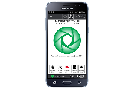 Samsung Phone with Occly App Home Screen