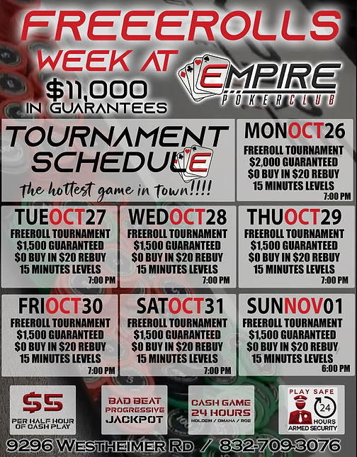 weekly schedule TOURNAMENTS 12 FREEROLLS