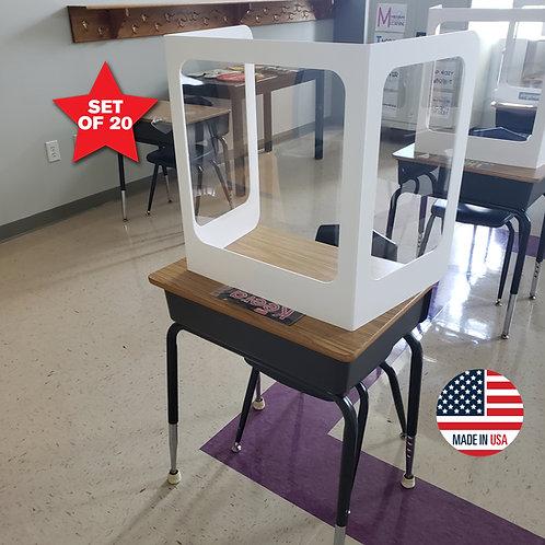 PVC Student Desk Shields - Set of 20