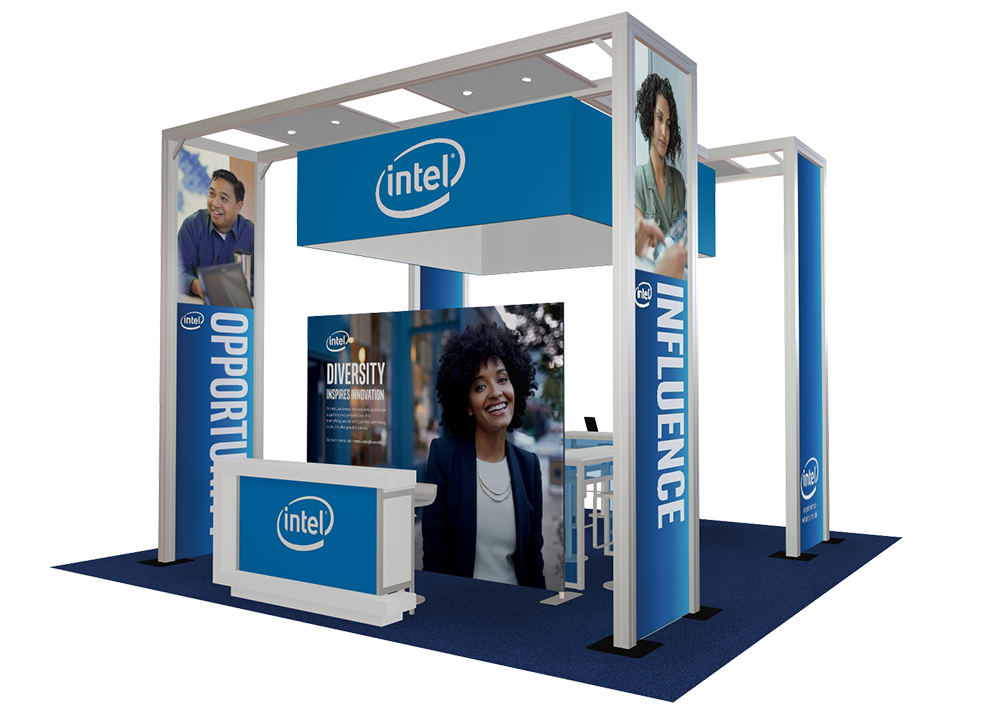 Intel's 20x20 booth rendering