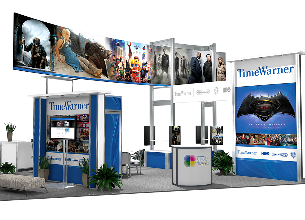 Time Warner's 20x30 booth rendering