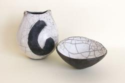 Raku vase and bowl
