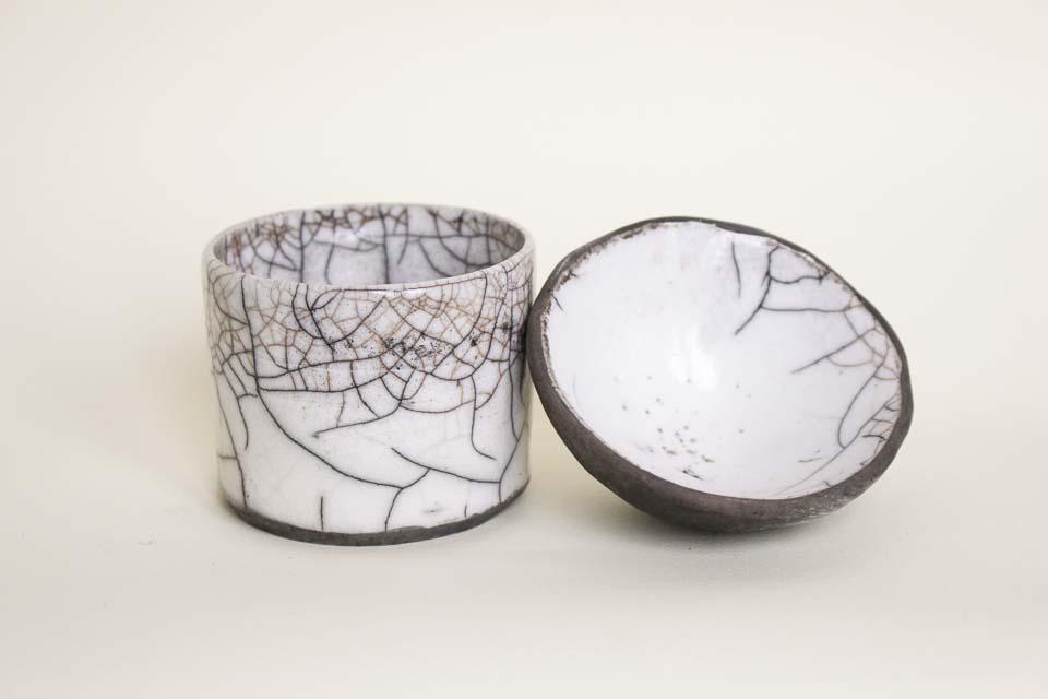 Raku cylinder and bowl