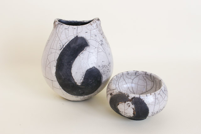 Raku vase and tea light holder set