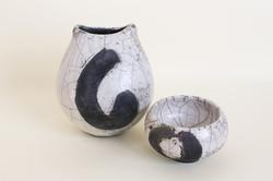 Raku vase and tea light holder set