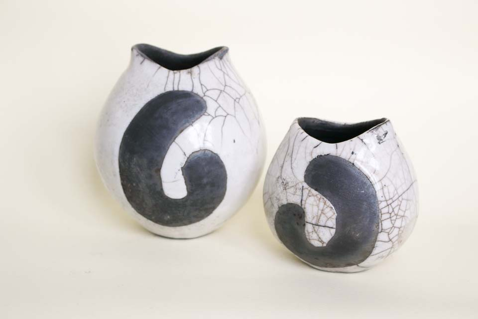 Pair of raku vases