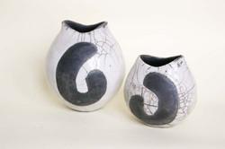 Pair of raku vases