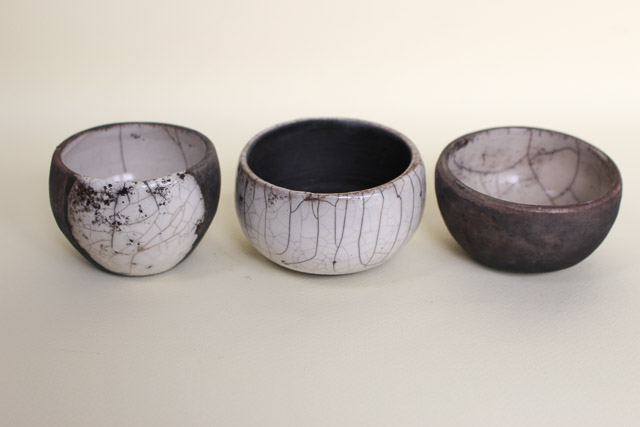 Trio of raku pots