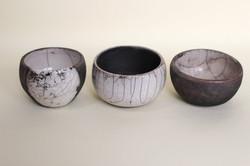 Trio of raku pots
