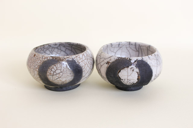 Raku tea light holders