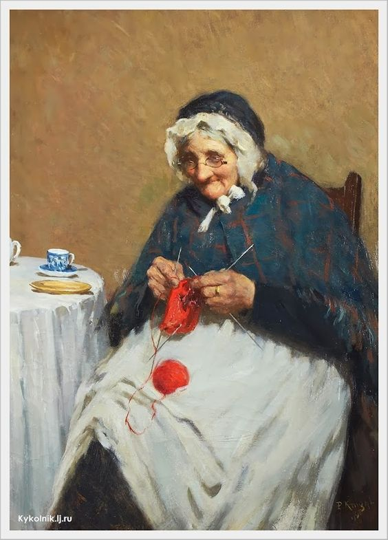 Uma Velha Avó Tricotando