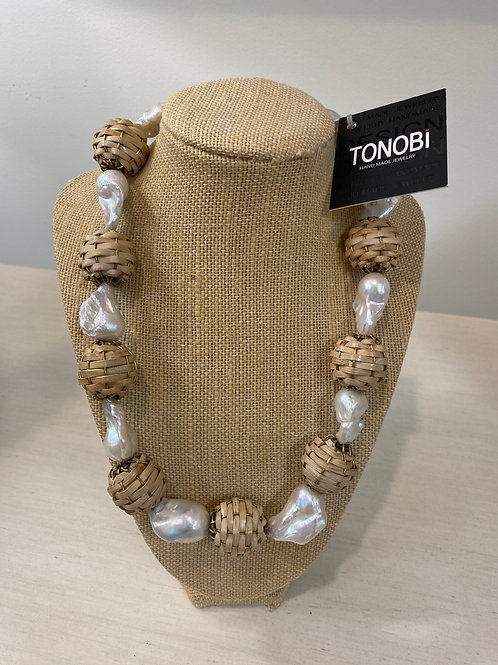 Tonobi Pearl and Straw Necklace