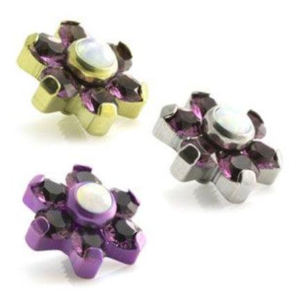 Titanium White Opal & Gem Micro Flower Top - 1.2mm