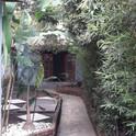 Jardim e edícula ao fundo.