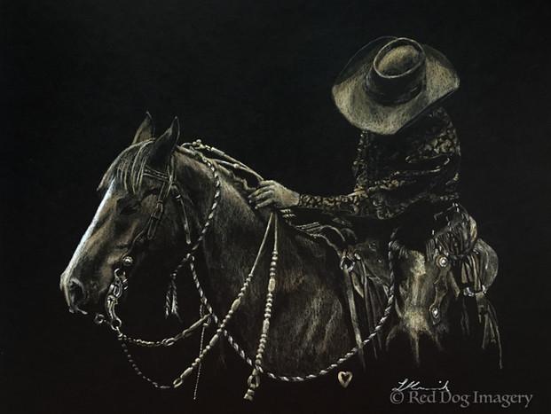 Just Breathe bridle horse on black paper