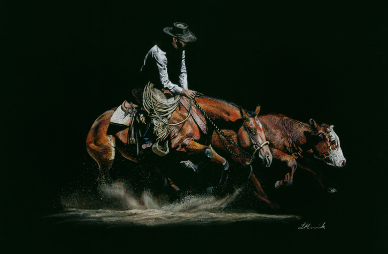 Match Point, working cow horse art by Re