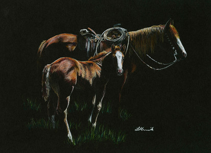 Raise them Right AQHA mare and foal art.