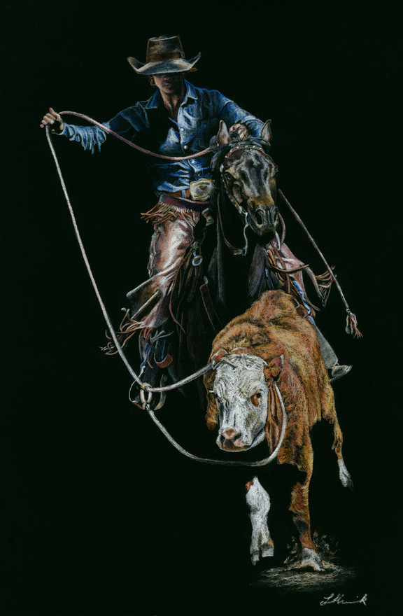 She is Fierce roping art by Libby Humeni