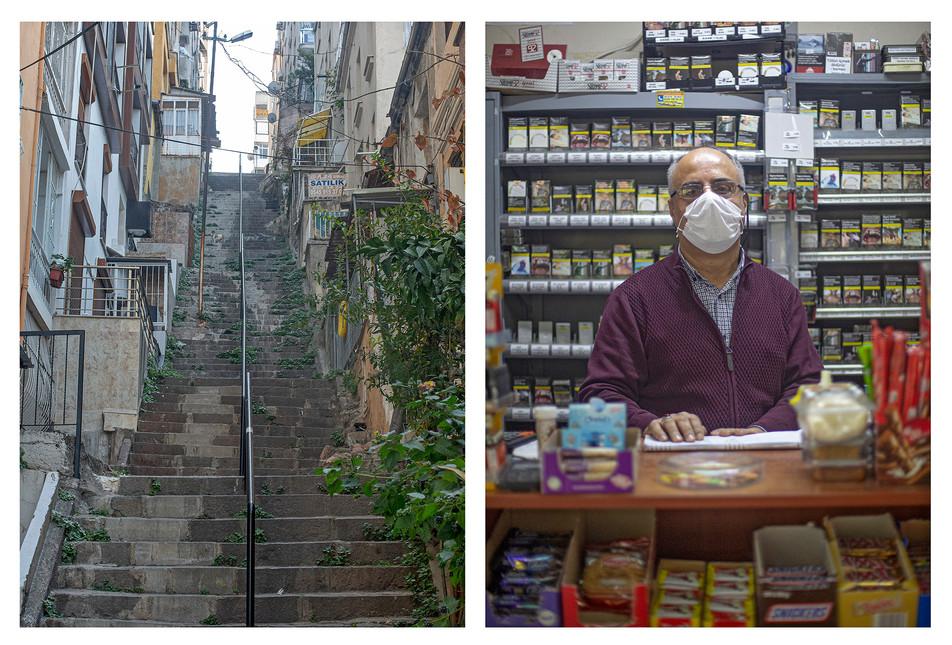 Niyazi Abi, Karataş ve Karantina muhitlerinin kesiştiği noktada, çok uzun yıllardır Ceren Market'i işletiyor.