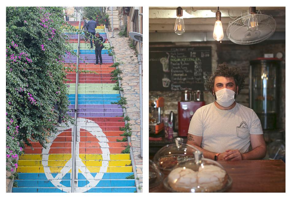 Adını merdivenlerden alan bir mekân olan Kırkmerdiven'in işletmecisi Mutlu, aynı zamanda burada yaşıyor.