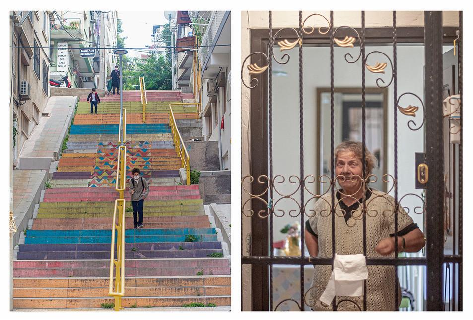 Hüsniye Teyze, mahallenin en eski sakinlerinden. Gençken kolaylıkla çıkabildiği Karataş merdivenleri artık onun için büyük bir zorluk haline gelmiş durumda. Ama anıları nedeniyle burada yaşamaya ısrarla devam ediyor.