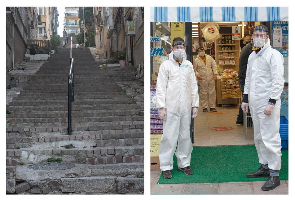 Karataş'ta faaliyet gösteren bir şarküteri ve çalışanları.