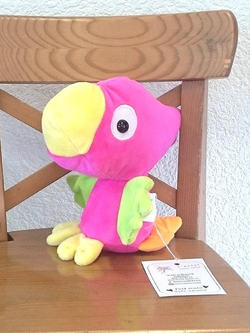 Perroquet bébé - fuschia - ailes anis