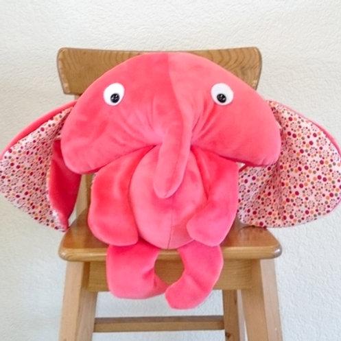 Elephant maman - corail - petits pois