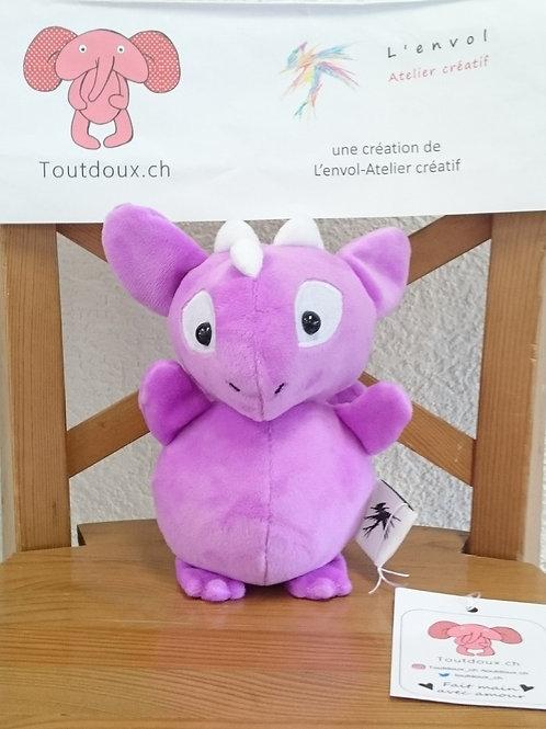 Dragon bébé - framboise - cornes blanches
