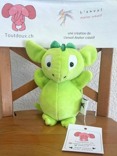 Dragon bébé - anis - cornes vertes