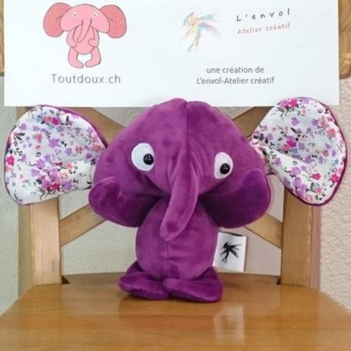 Eléphant bébé - violet - fleurs