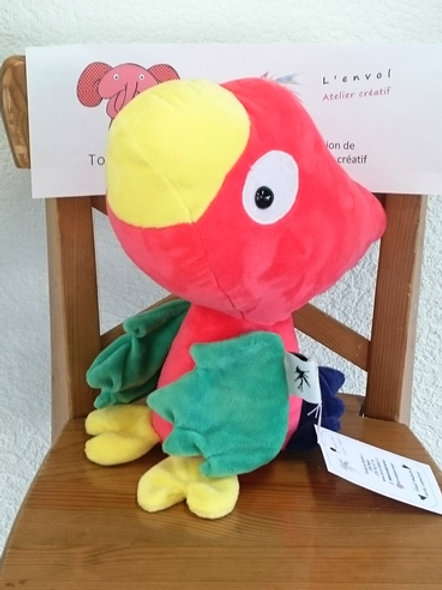 Perroquet maman - rouge - ailes vertes