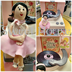 1950's Style Record Player Cake