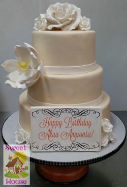 Ivory and white birthday cake