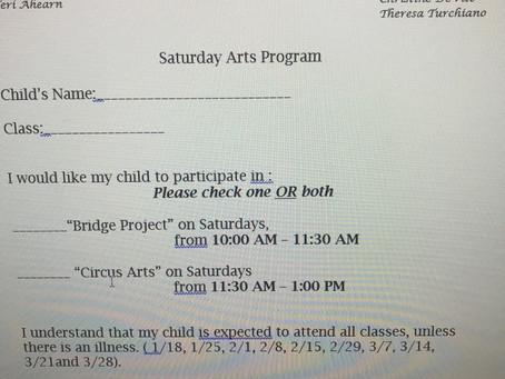 Saturday arts program opportunity