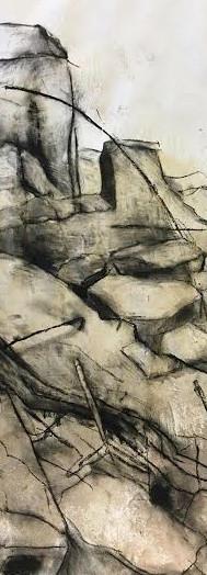 """(de)con(struction)"", acrylic, charcoal (38x50), 2016"