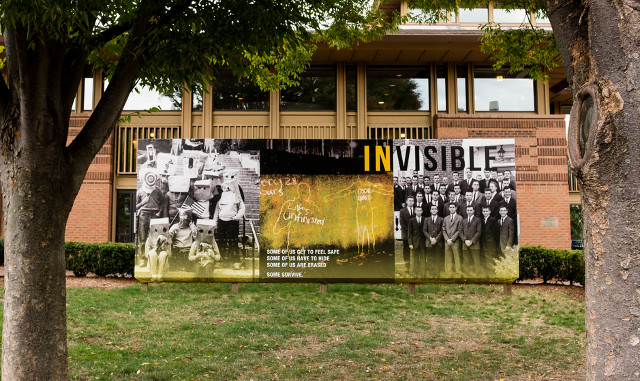 """""""InVisible"""" (A Flash Collective piece with Avram Finkelstein) on Tufts University Campus, 2015 