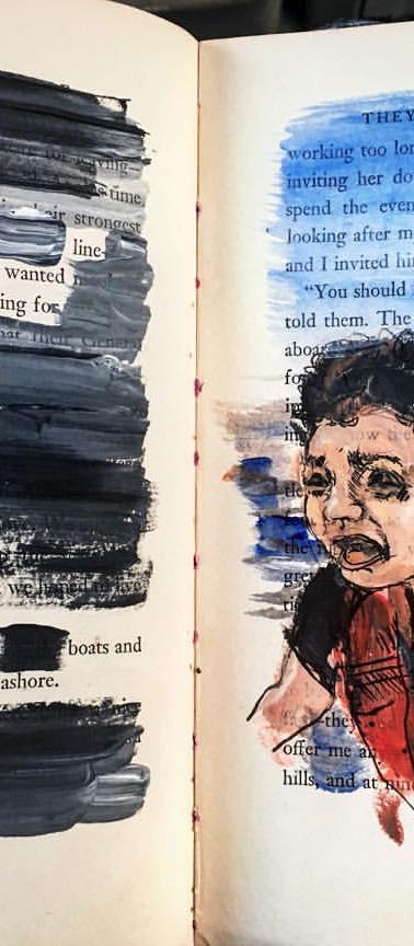 Seeking Refuge, mixed media on paper, 2016