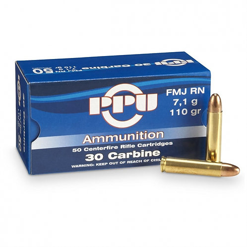 30 Carbine FMJ RN 110gr PPU Rifle Ammunition Pack 100