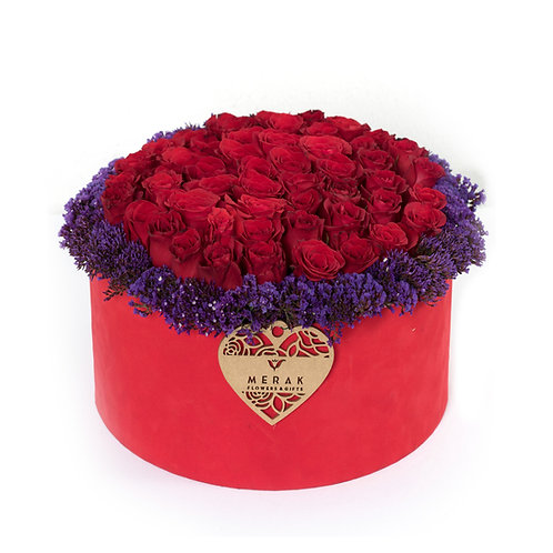 Caja de 50 rosas rojas