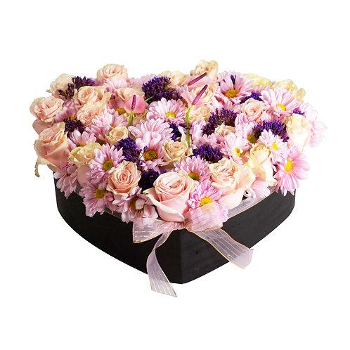 Corazón de flores mixtas
