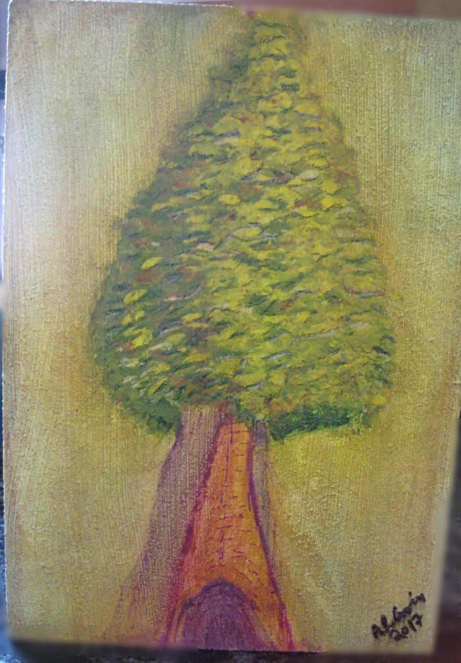 Dawn Tree - goache on composite board