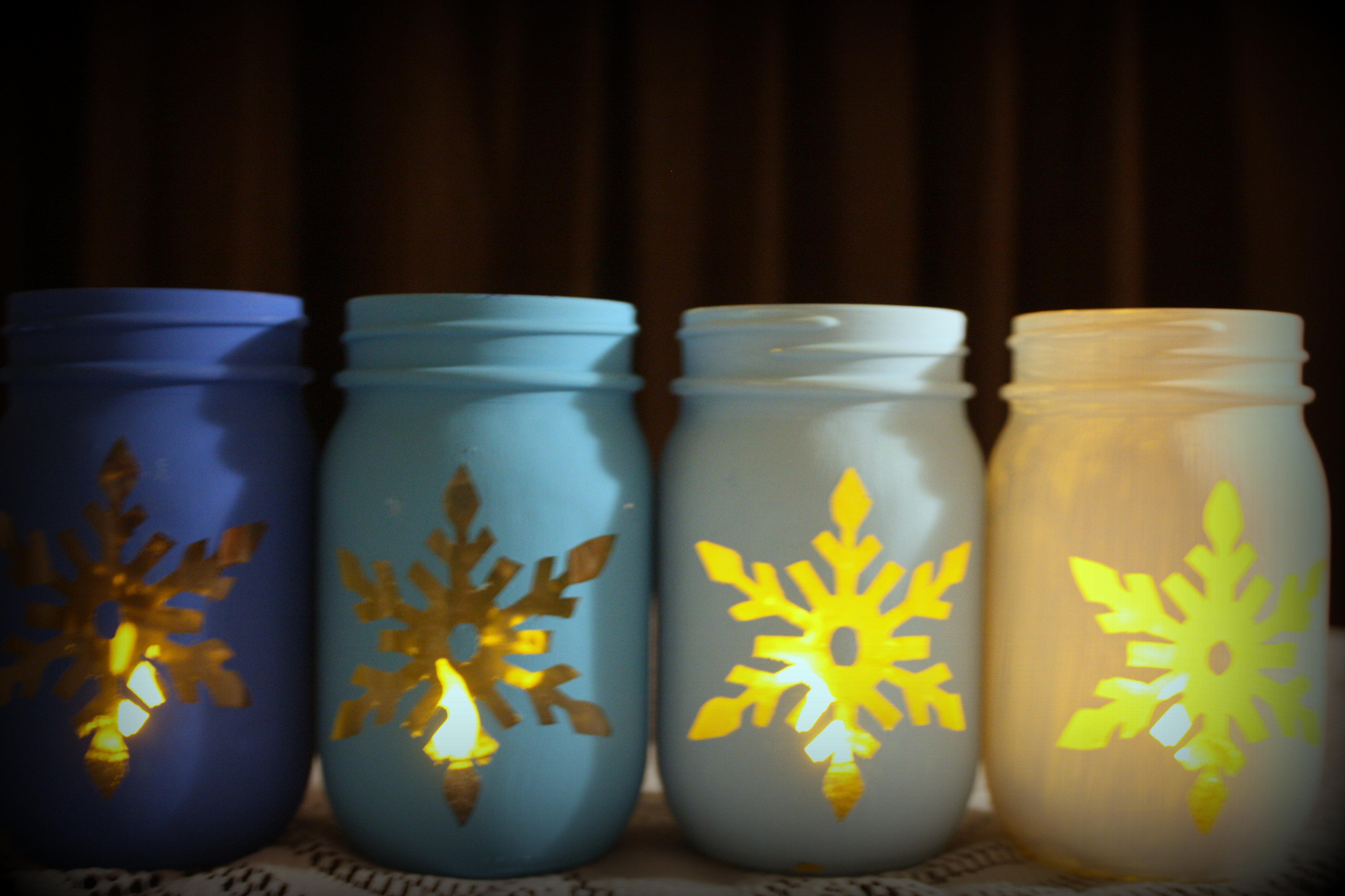 Snowflake Mason Jar Set - (4 Jars)
